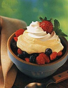 Lemon mousse with fresh berries